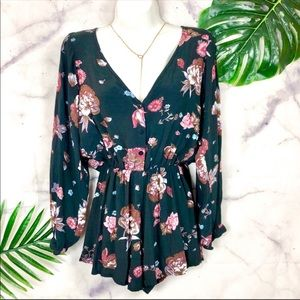 FAITHFUL The BRAND Black & Pink Floral Romper XS